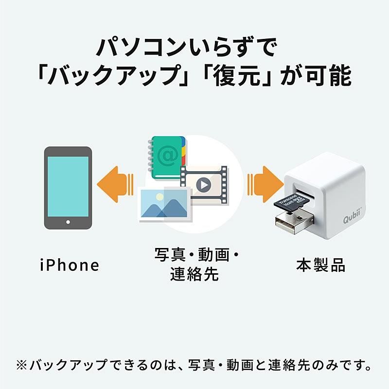 サンワサプライのiPhoneカードリーダーiPhoneの電話帳や写真をパソコンなしで充電しながらバックアップ