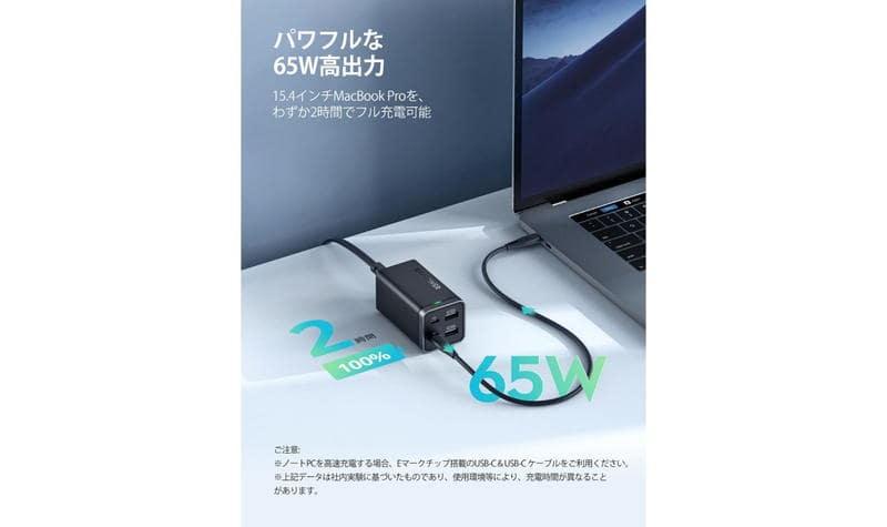 USBtypeCを1ポート利用の場合に最大65W出力